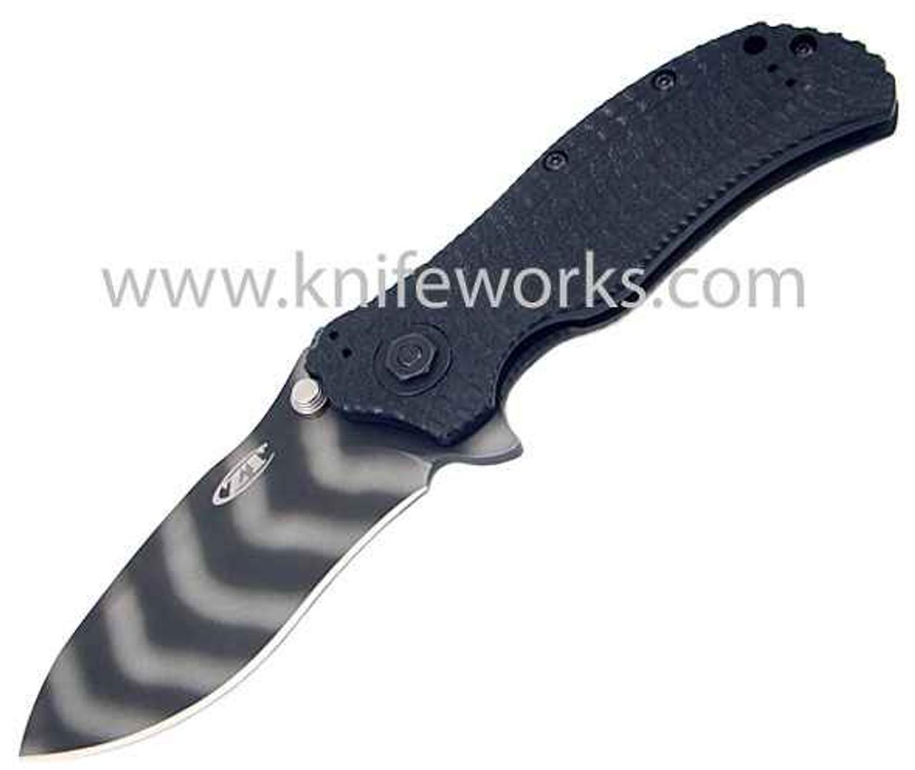 #Zero Tolerance ZT0303 Folding Tiger Stripe S30V w/ TDLC Coating, 3D Black Handle, Black Plain Edge