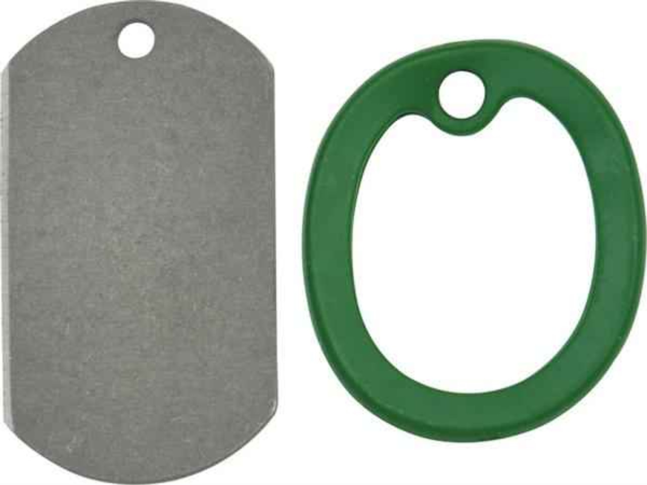 The Original Dog Tag Knife, Titanium Blade, Green Rubber Frame, DT001G