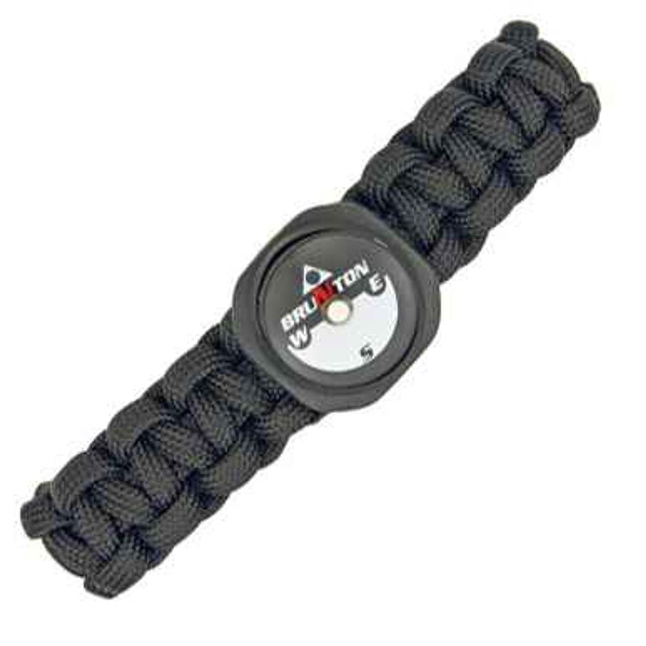 Para Cord Survival Bracelet with Compass. Black Size Medium