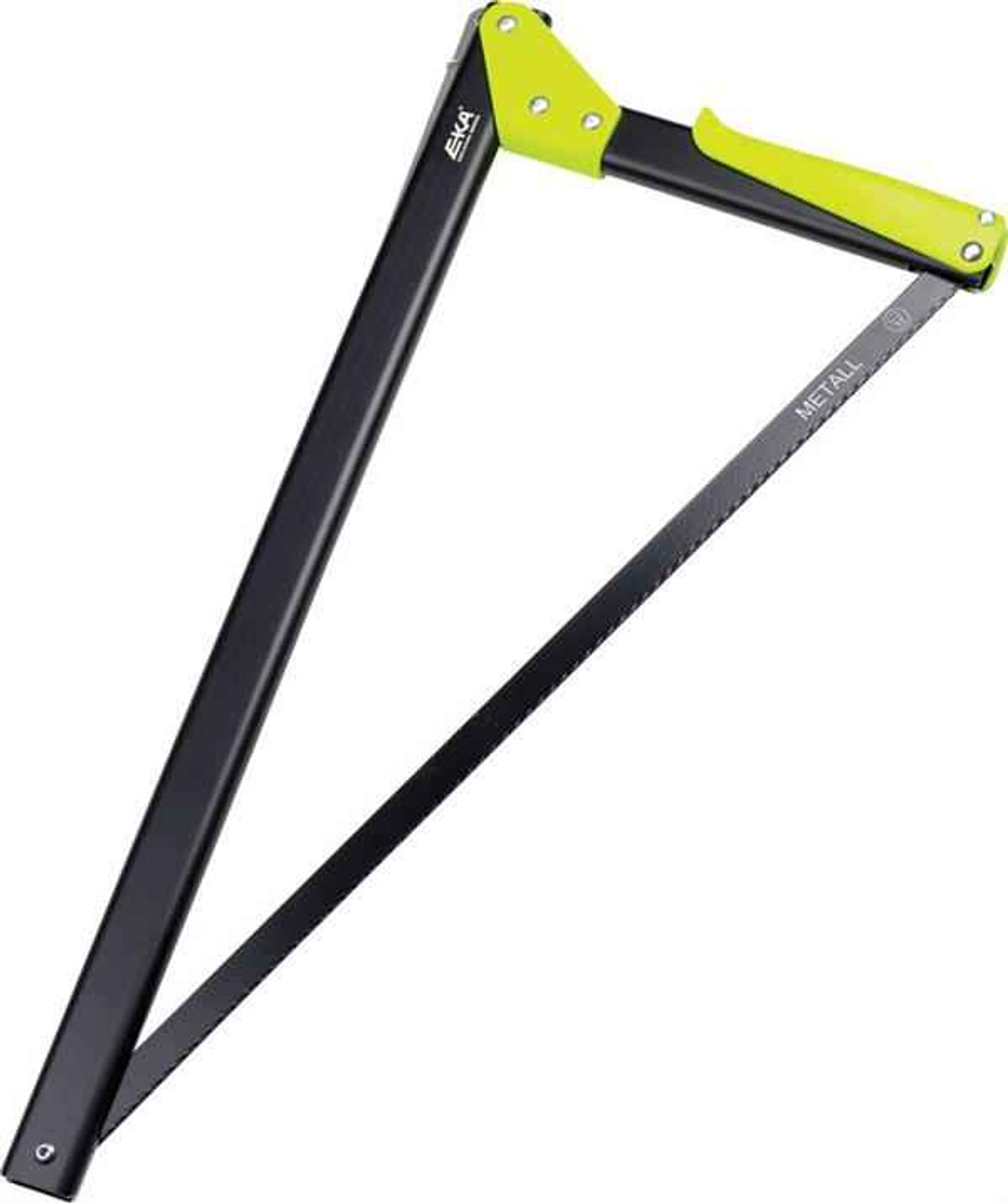 """EKA Viking Combi-Saw. Approximately 21"""" closed, Black finish handles with lime green grip and connector."""