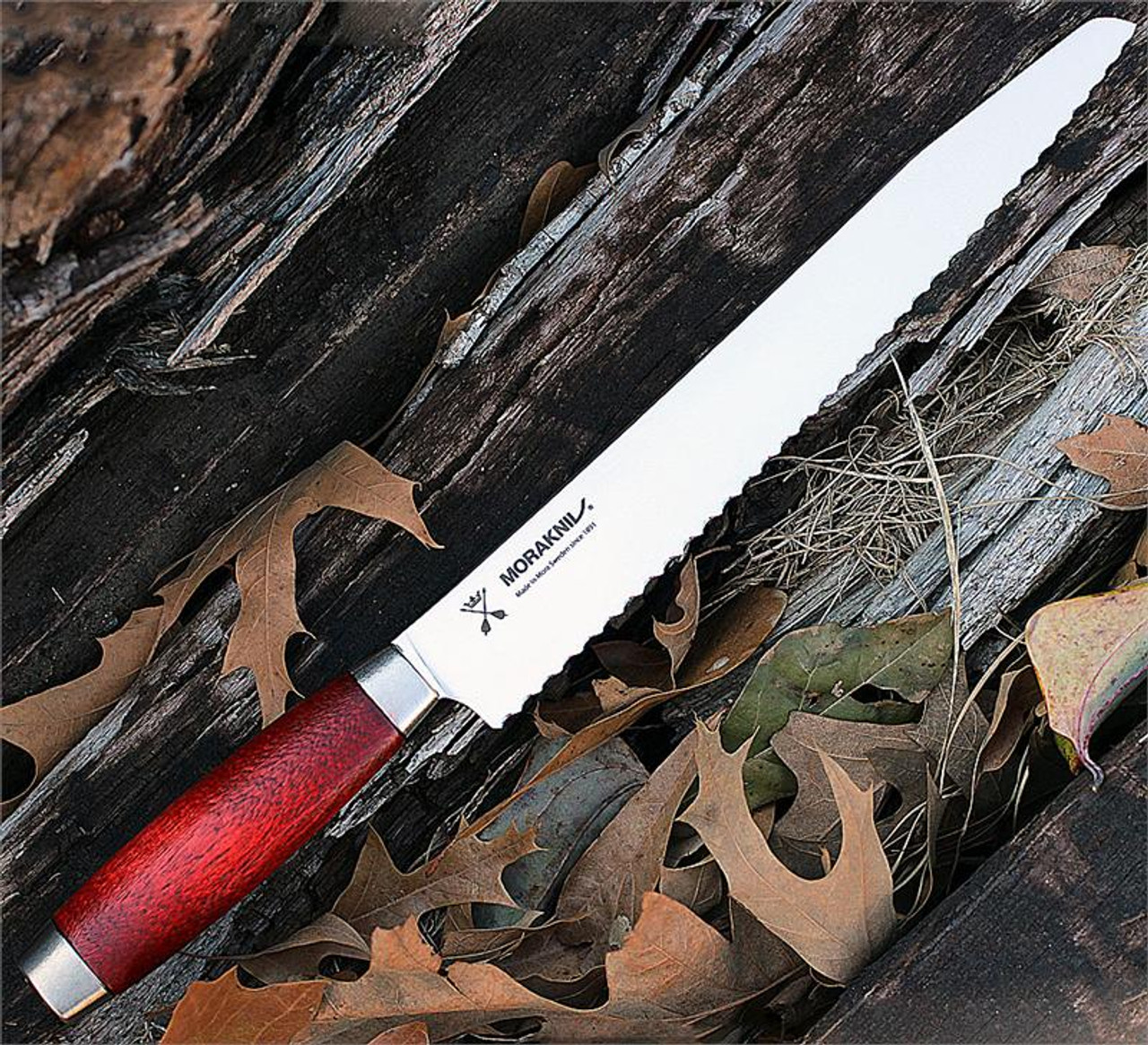"""Mora Classic 1891, 10"""" Bread Knife, SS, Red Wooden Handle"""