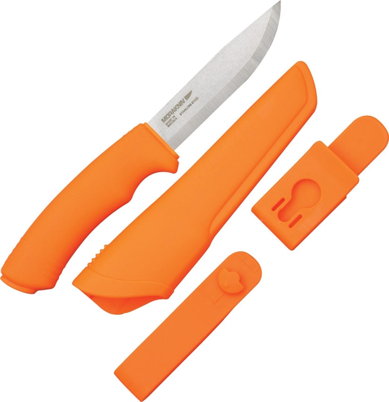Mora Bushcraft, Orange Handle & Sheath, Stainless Steel Blade