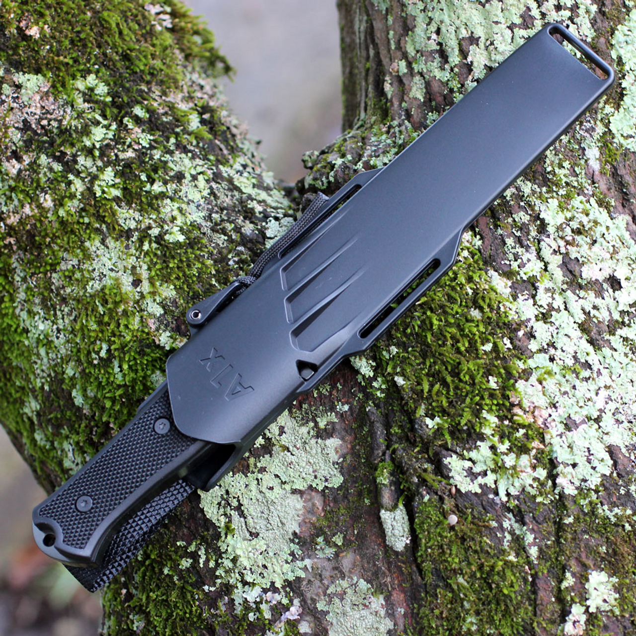 """Fallkniven A1XB, A1X Series Black, 6.34"""" Lam.CoS Black Tungsten Carbide Blade, Thermorun Handle"""