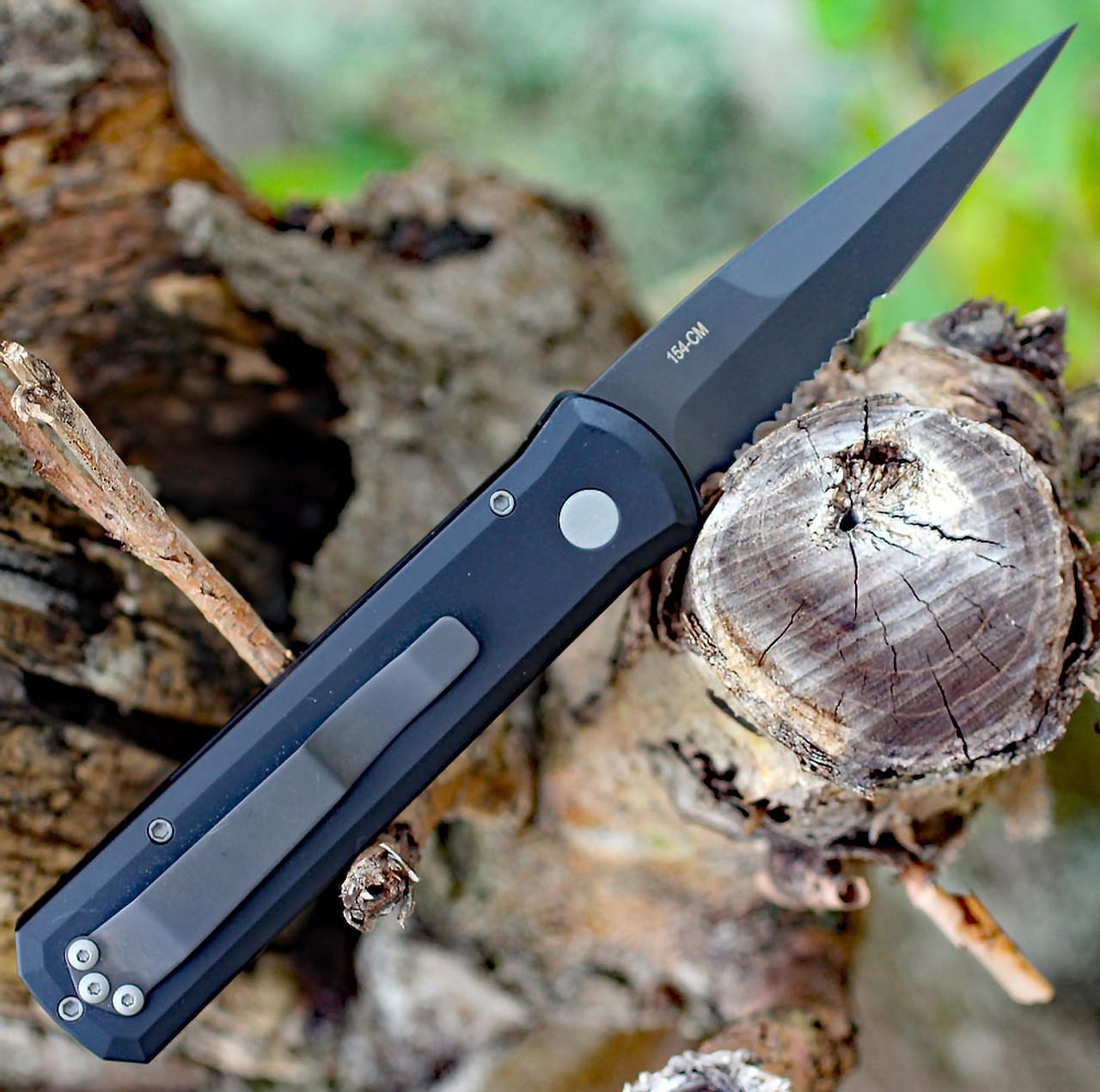 """Protech 721PS Godson, 3.15"""" Black DLC 154CM Part Serrated Blade, Black Aluminum Handle"""
