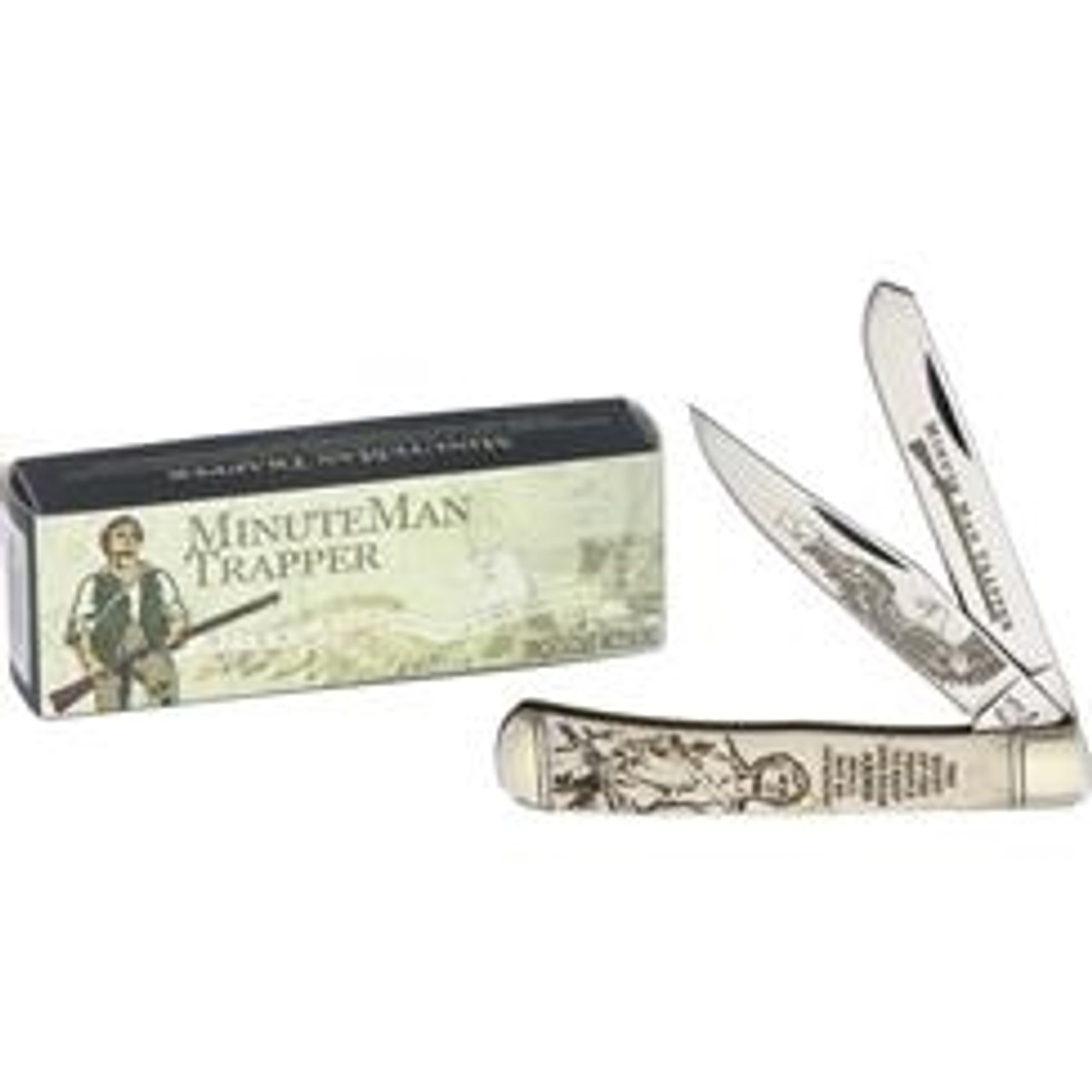 Rough Ryder RR1447 Minute Man Trapper, Stainless Steel,  White Bone Handle