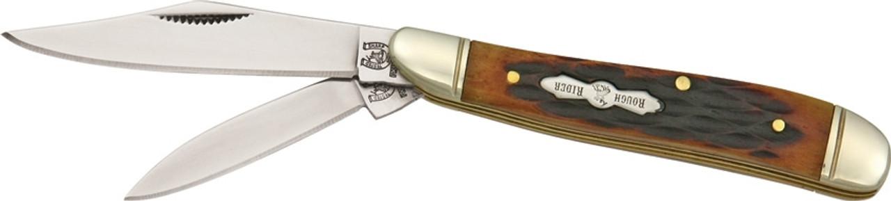 Rough Ryder RR110 Peanut Amber Bone, Stainless Steel, Jigged Bone Handle