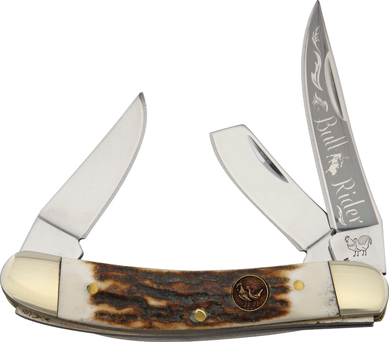 Hen & Rooster HR283DSBR Bullrider Deer Stag, Stainless Steel, Deer Stag Handle