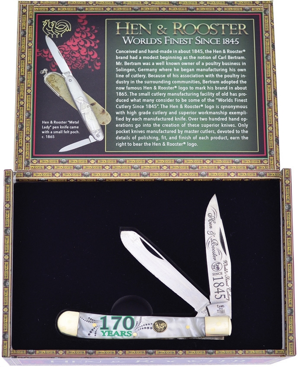 Hen & Rooster Knives 312170CI 170th Anniversary Trapper, White Cracked Ice Synthetic Handle