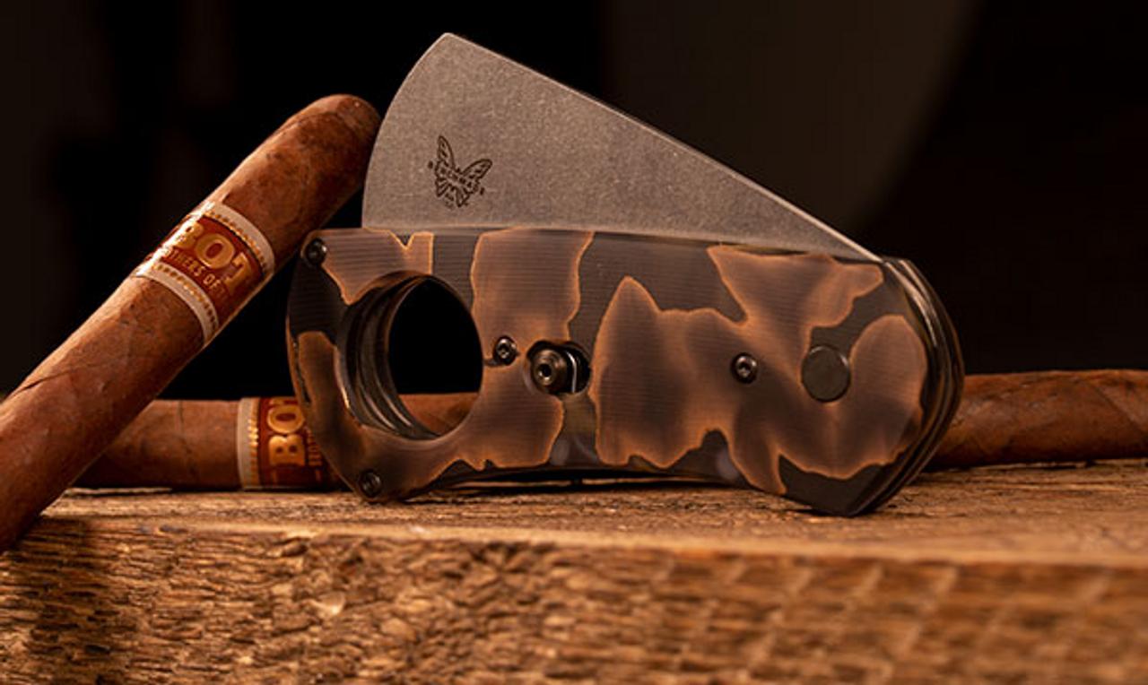 Benchmade 1500-191 Cigar Cutter, CPM-S90V Steel, Raffir Noble Black Waves