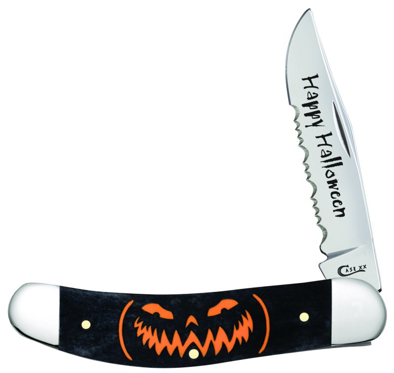 "Case 2019 Happy Halloween Sowbelly, CA10586, 3.875"" TruSharp Surgical Steel Bades, Bone Handle"