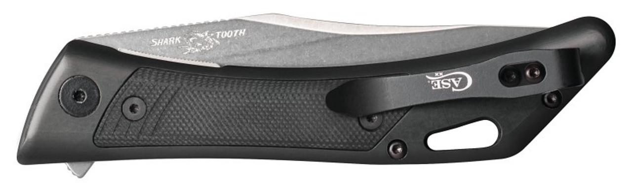 "Case Shark Tooth Flipper Black Anodized Aluminum 53503, 4 3/4"" Closed Length SS Blade"