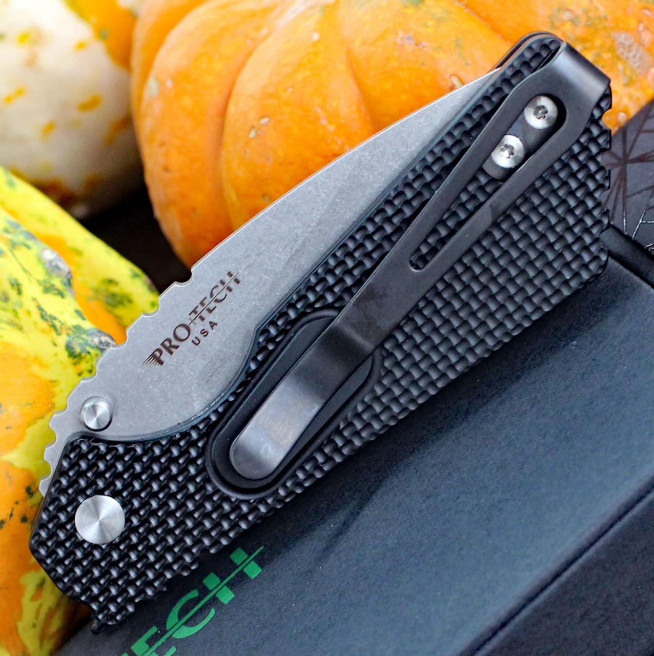 """ProTech 2305 Pro-Strider PT, 2.75"""" 154cm Stonewash Plain Blade, Knurling Texture Aluminum Handle"""