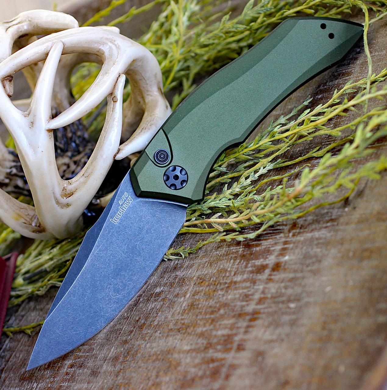 "Kershaw Launch 1 KS7100OLBW, 3.4"" CPM 154  BlackWash Blade,  Olive Green Anodized Aluminum Handle"