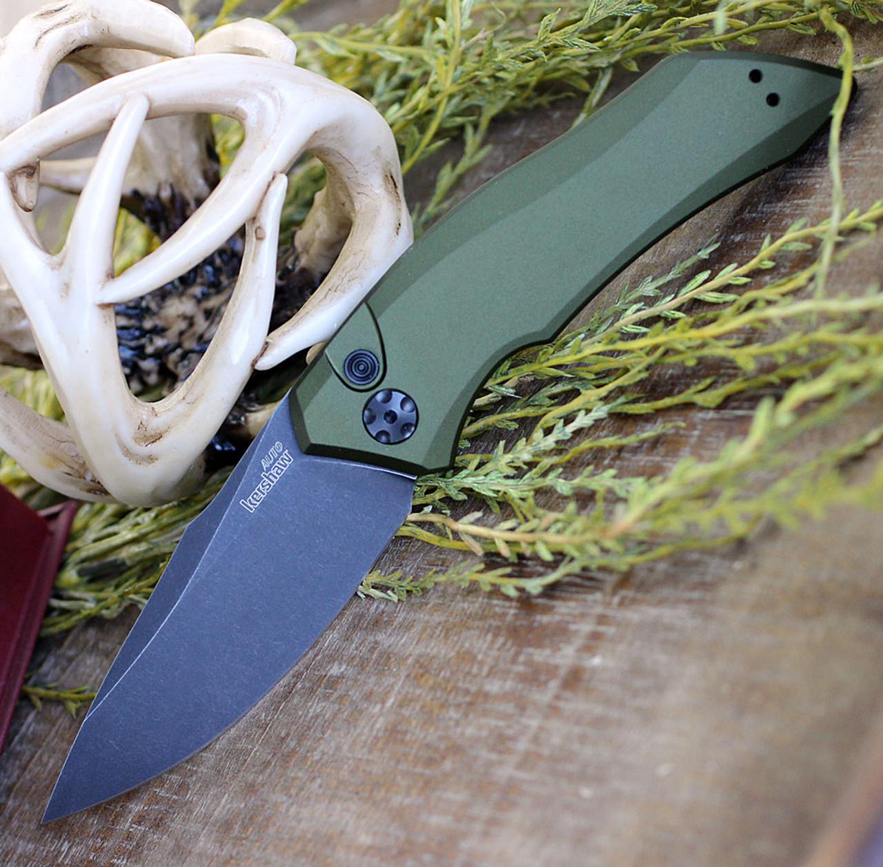 "Kershaw Launch 17100OLBW, 3.4"" CPM 154  BlackWash Blade,  Olive Green Anodized Aluminum Handle"
