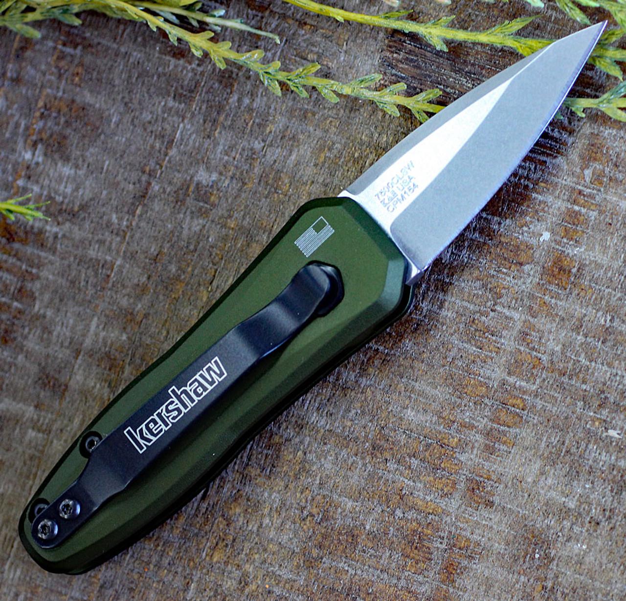 """Kershaw Launch 4 KS7500OLSW, 1.9"""" CPM 154 Stonewash Plain Blade, Olive Anodized Aluminum Handle"""