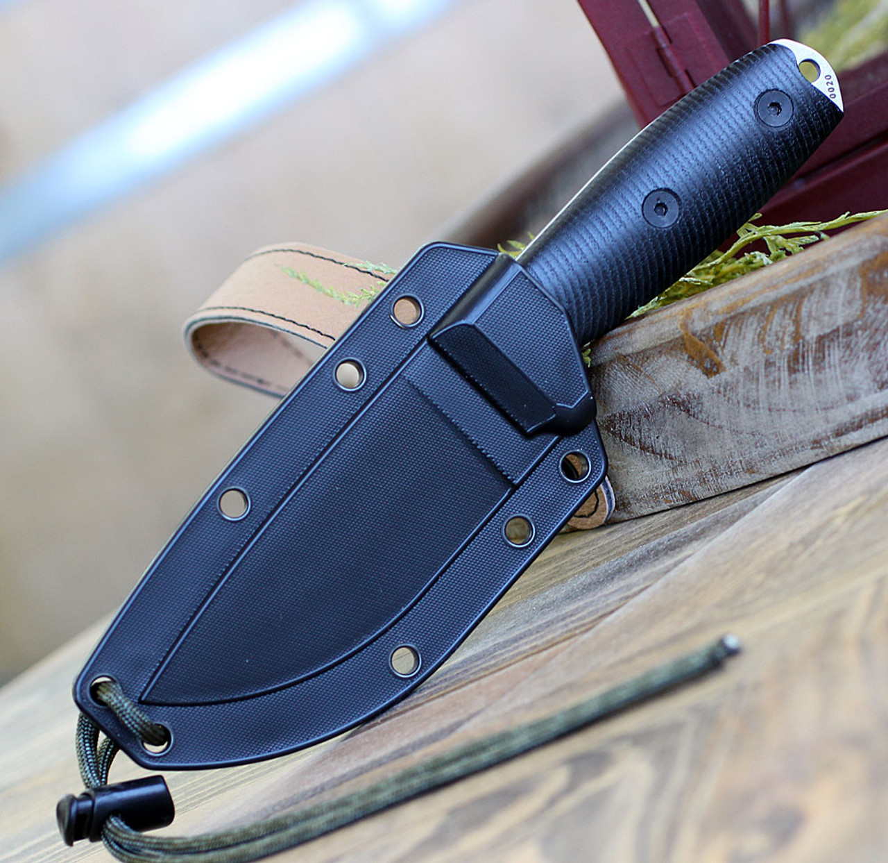 "ESEE-3 3PMS35V-001, 3.88"" S35VN Stonewash Plain Blade, Black G10 3D Handle, Black Sheath"