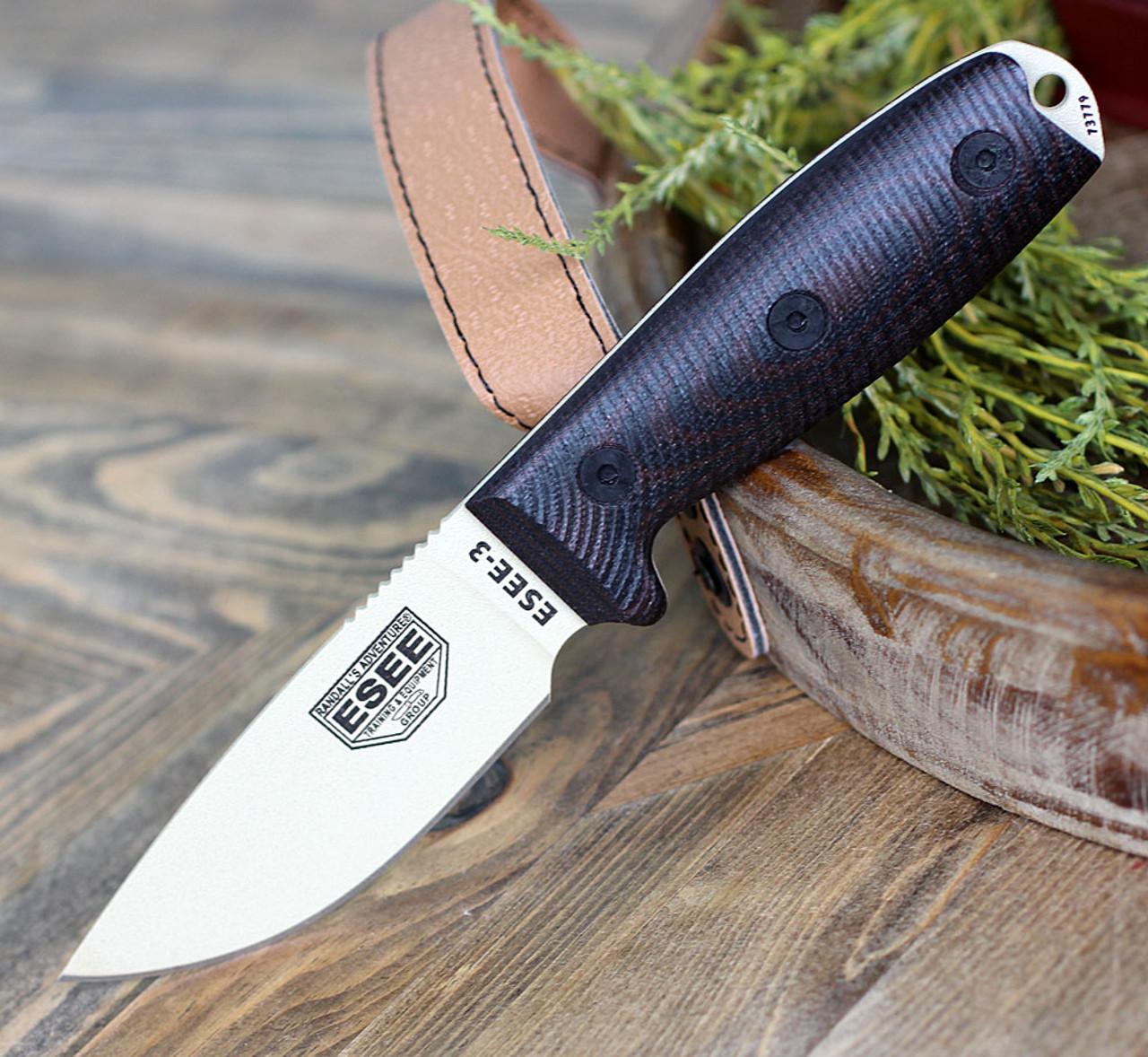 "ESEE-3 3PMDT-004, 3.88"" 1095 Carbon Steel DT Plain Blade, Blood/Black G10 3D Handle, Black Sheath"