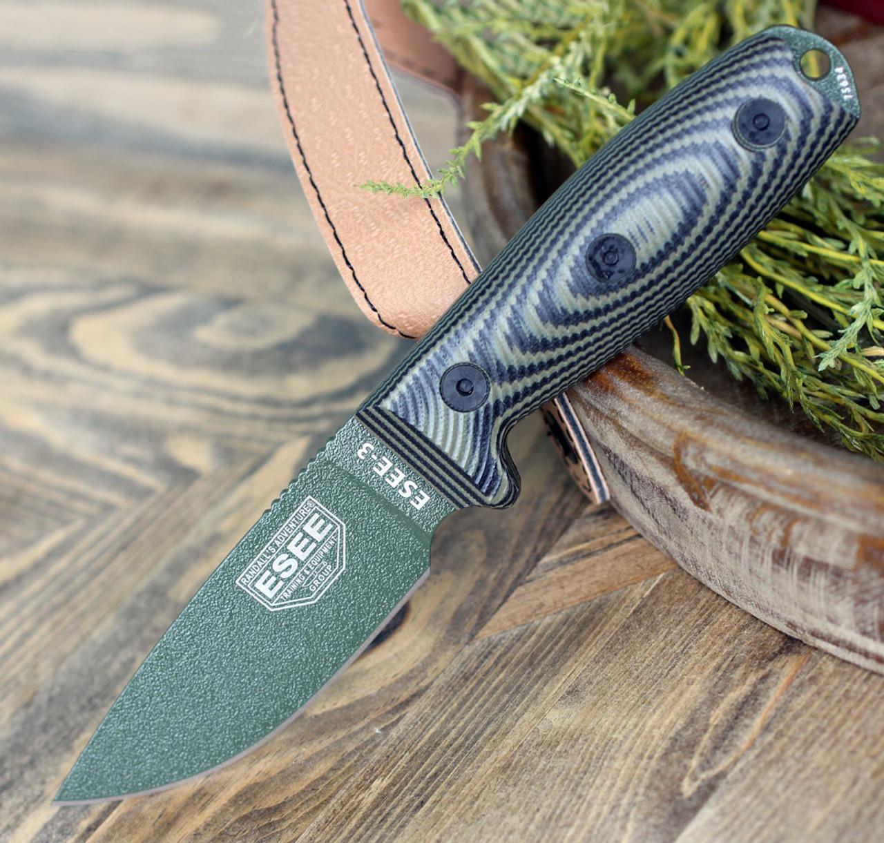 "ESEE-3 3PMOD-003, 3.88"" 1095 Carbon Steel OD Plain Blade, Green/Black G10 3D Handle, Black Sheath"