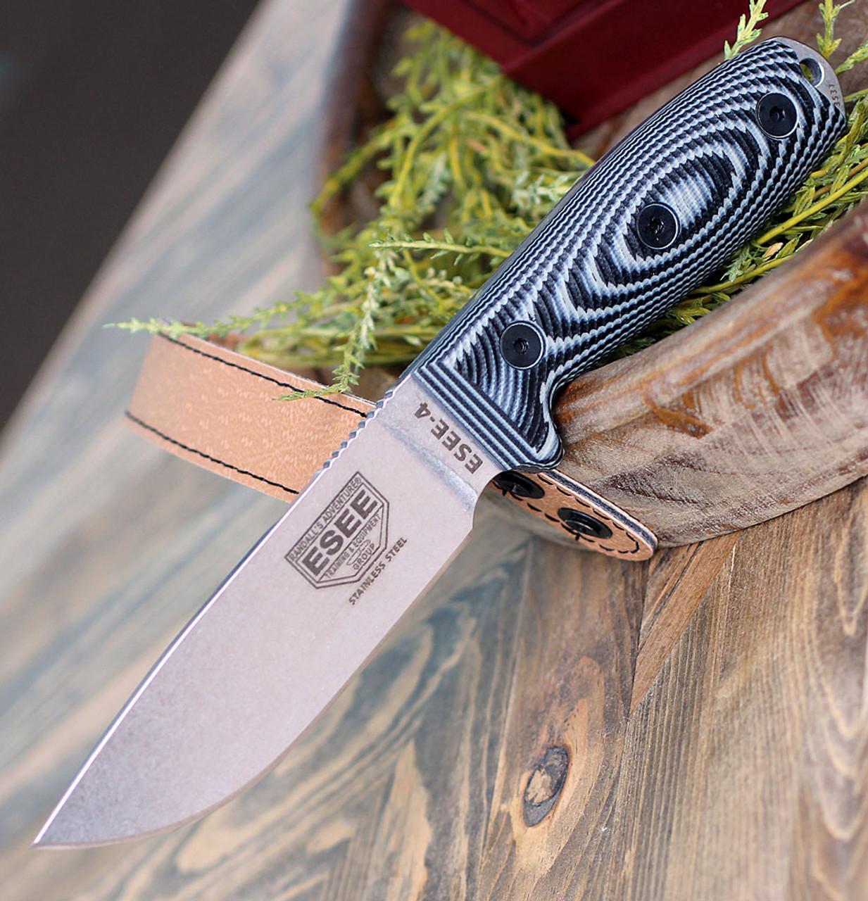 "ESEE-4 4PSS-002, 4.5"" 440C SS Stonewash Plain Blade, Gray/Black G10 3D Handle, Black Sheath"