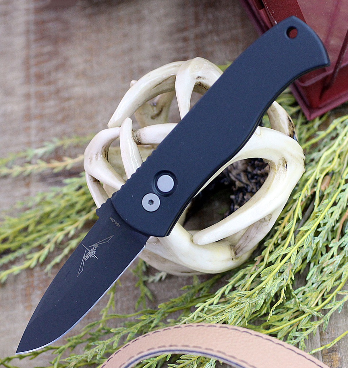 "ProTech E7A3-Emerson CQC7 Spear Point, 3.25"" 154cm Black Plain Blade, Aluminum Handle"
