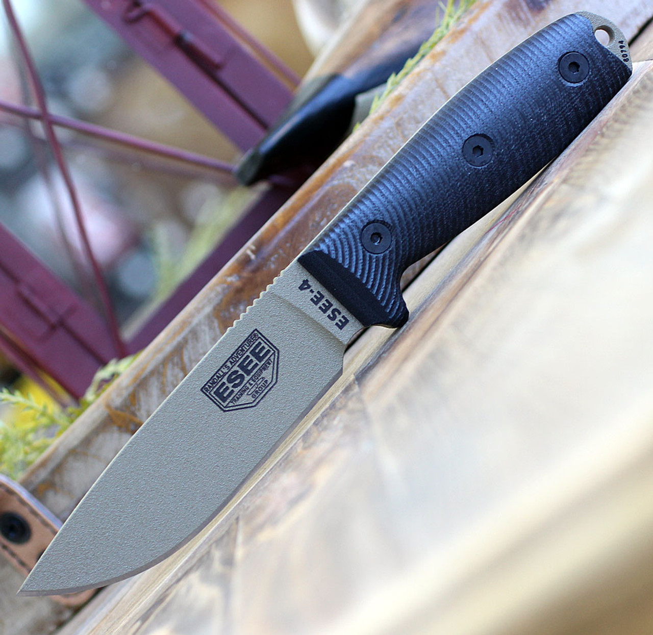 """ESEE-4 4PDE-001, 4.5"""" 1095 Carbon Steel DE Plain Blade, Black G10 3D Handle, Black Sheath"""