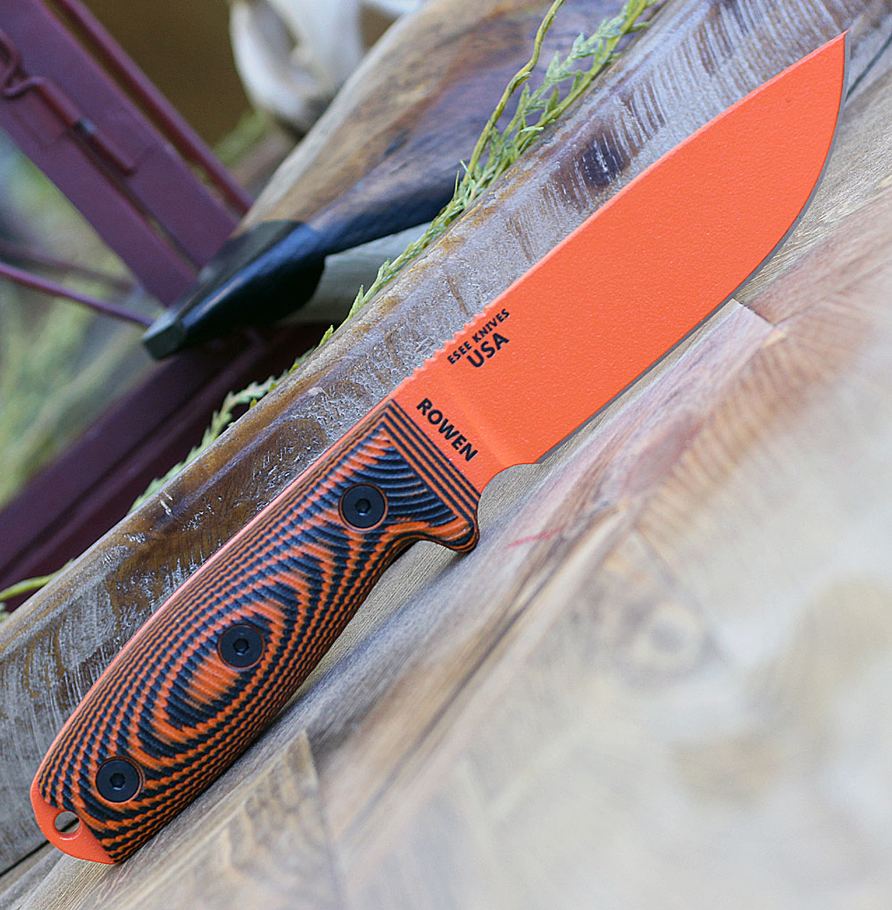 "ESEE- 4POR-006, 4.5"" 1095 Carbon Steel Orange Plain Blade, Orange/Black G10 3D Handle, Black Sheath"