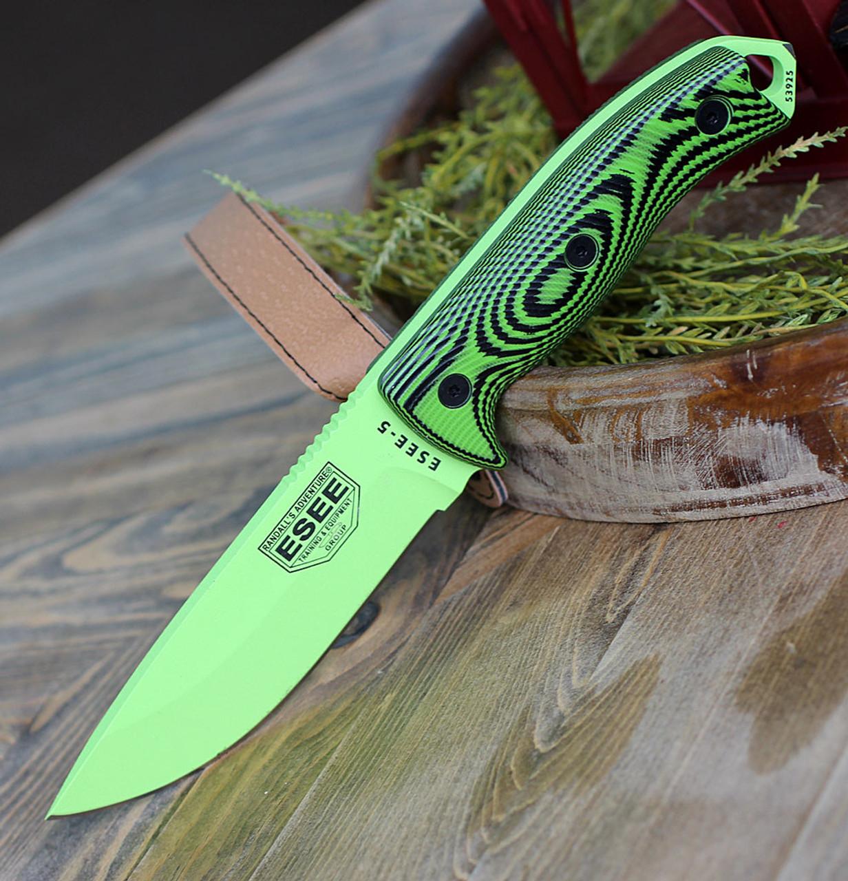 ESEE-5 Venom Green Blade Neon Green//Black G10 3D Handle Black Kydex Sheath