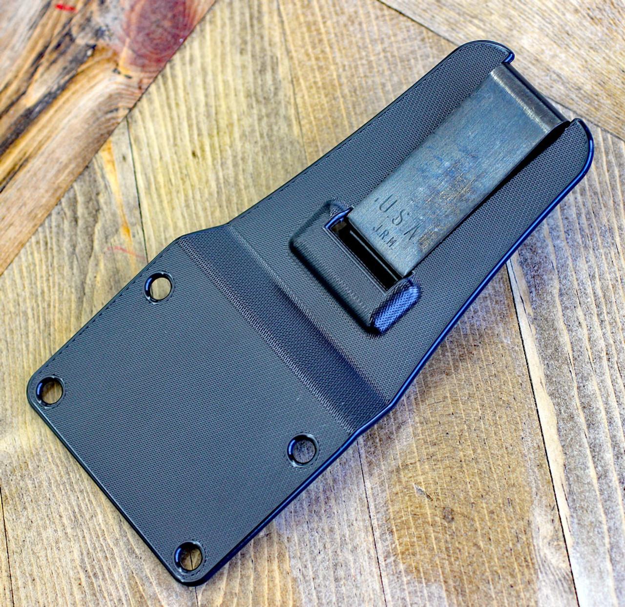 "ESEE-6 6PB-011, 5.75"" 1095 Carbon Steel Black Plain Blade, Natural Canvas Micarta 3D Handle, Black Molded Sheath"