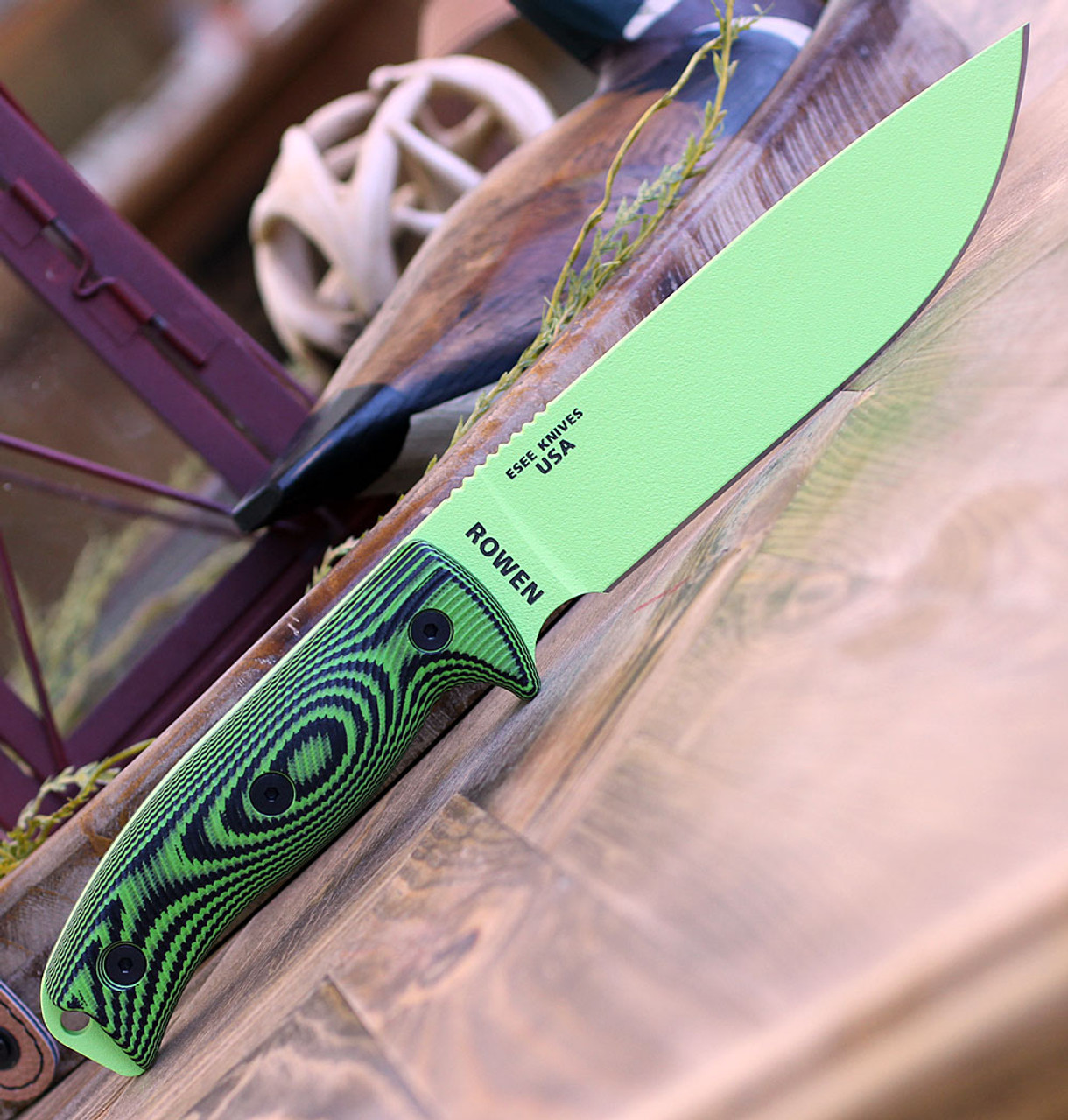 "ESEE-6 6PVG-007, 5.75"" 1095 Carbon Steel Venom Green Plain Blade, Neon Green/Black G10 3D Handle, Black Molded Sheath"