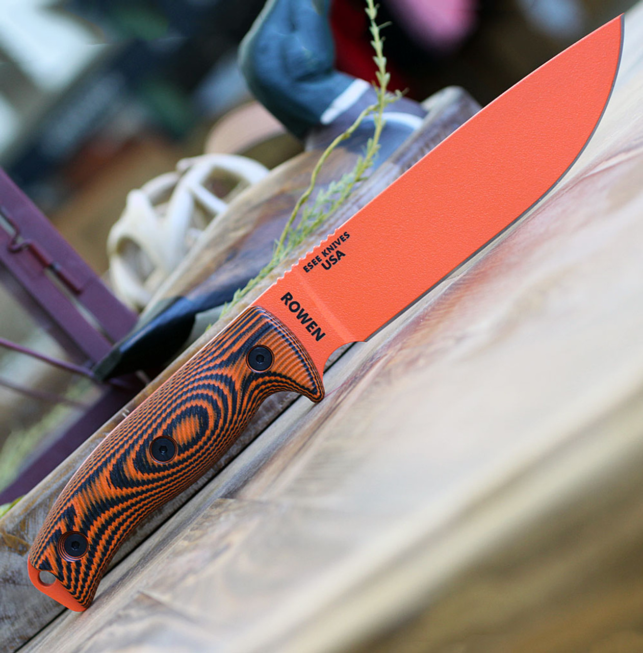 "ESEE-6 6POR-006, 5.75"" 1095 Carbon Steel Orange Plain Blade, Orange/Black G10 3D Handle, Black Molded Sheath"