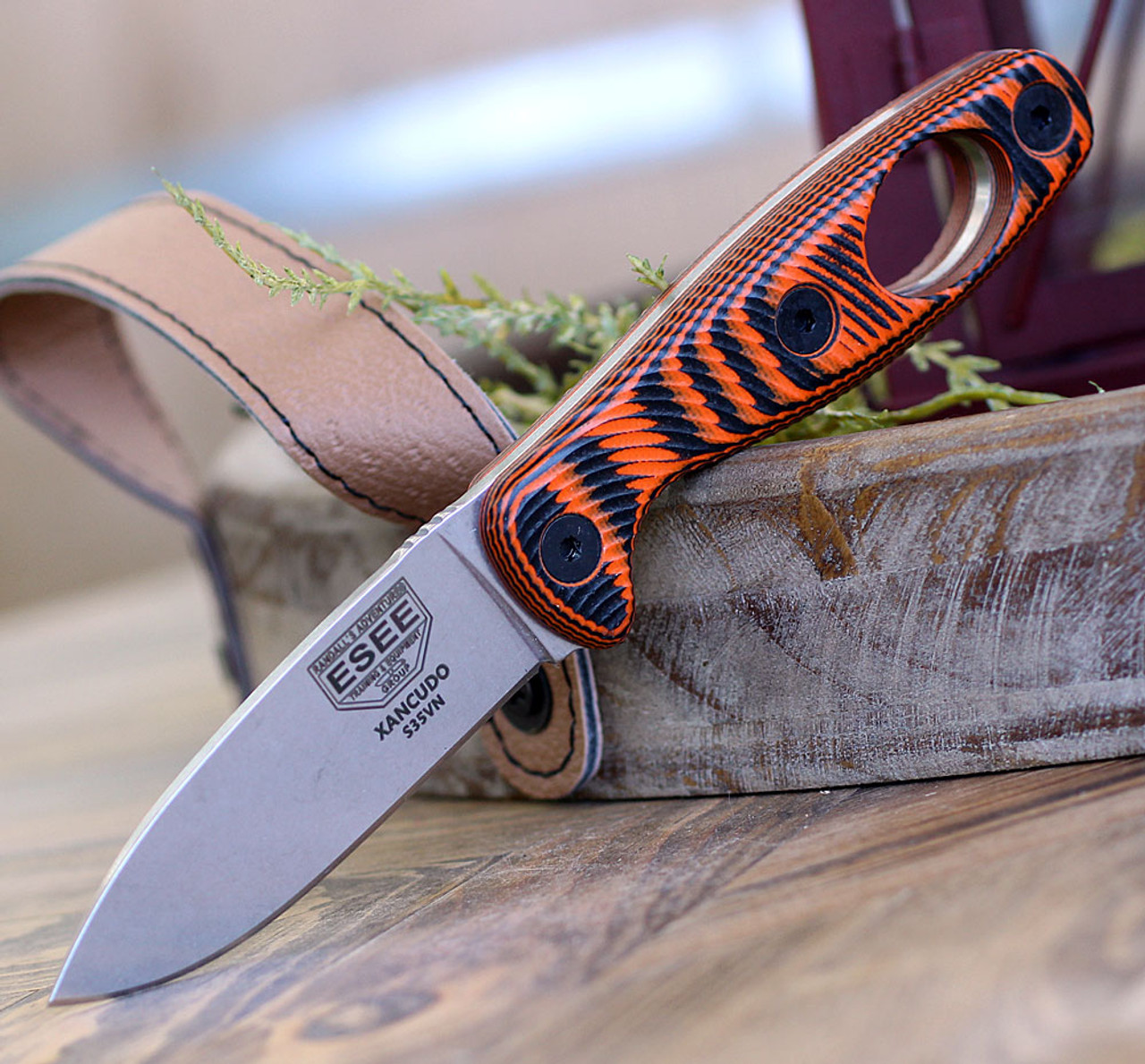 "ESEE Xancudo XAN1-006, 3.0"" S35VN Stonewash Plain Blade, Orange/Black G10 3D Handle w/hole, Black Sheath"