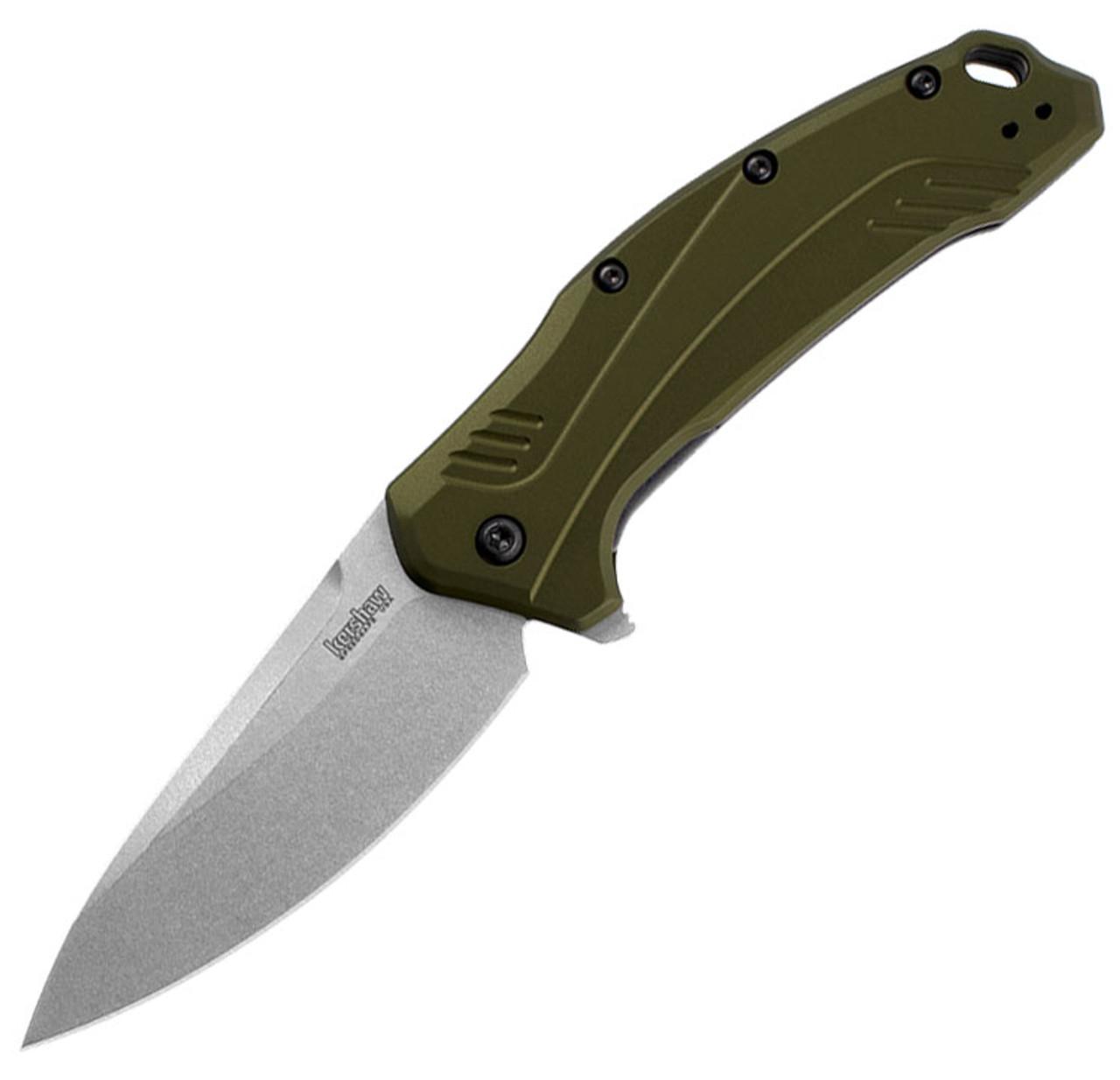 "Kershaw Link-Olive KS1776OLSW, 3.25"" CPM 20CV Stonwash Blade, Aluminum Handle"