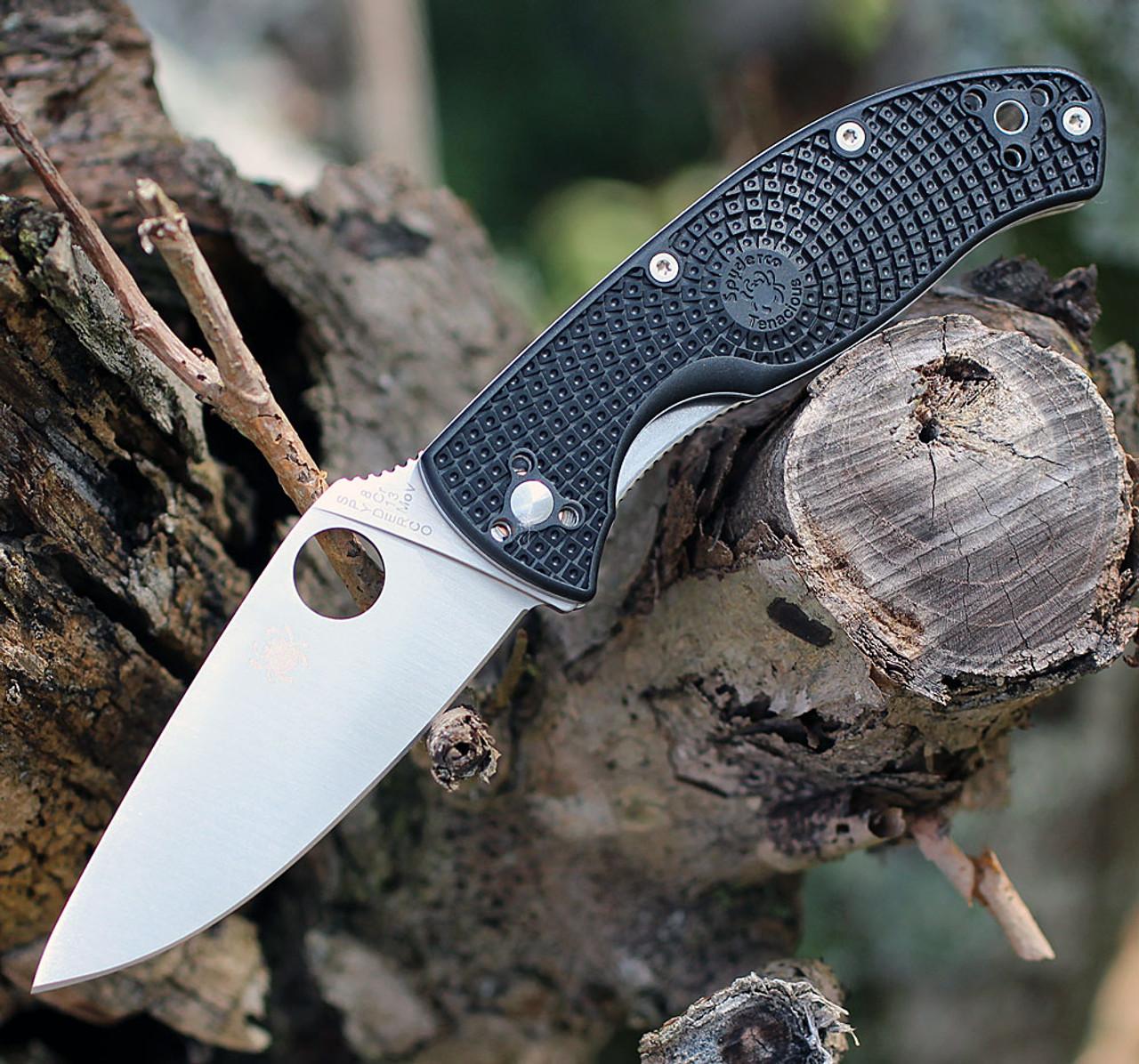 "Spyderco Tenacious Lightweight C122PBK, 3.39"" 8Cr13MoV Plain Blade, Black FRN Handle"