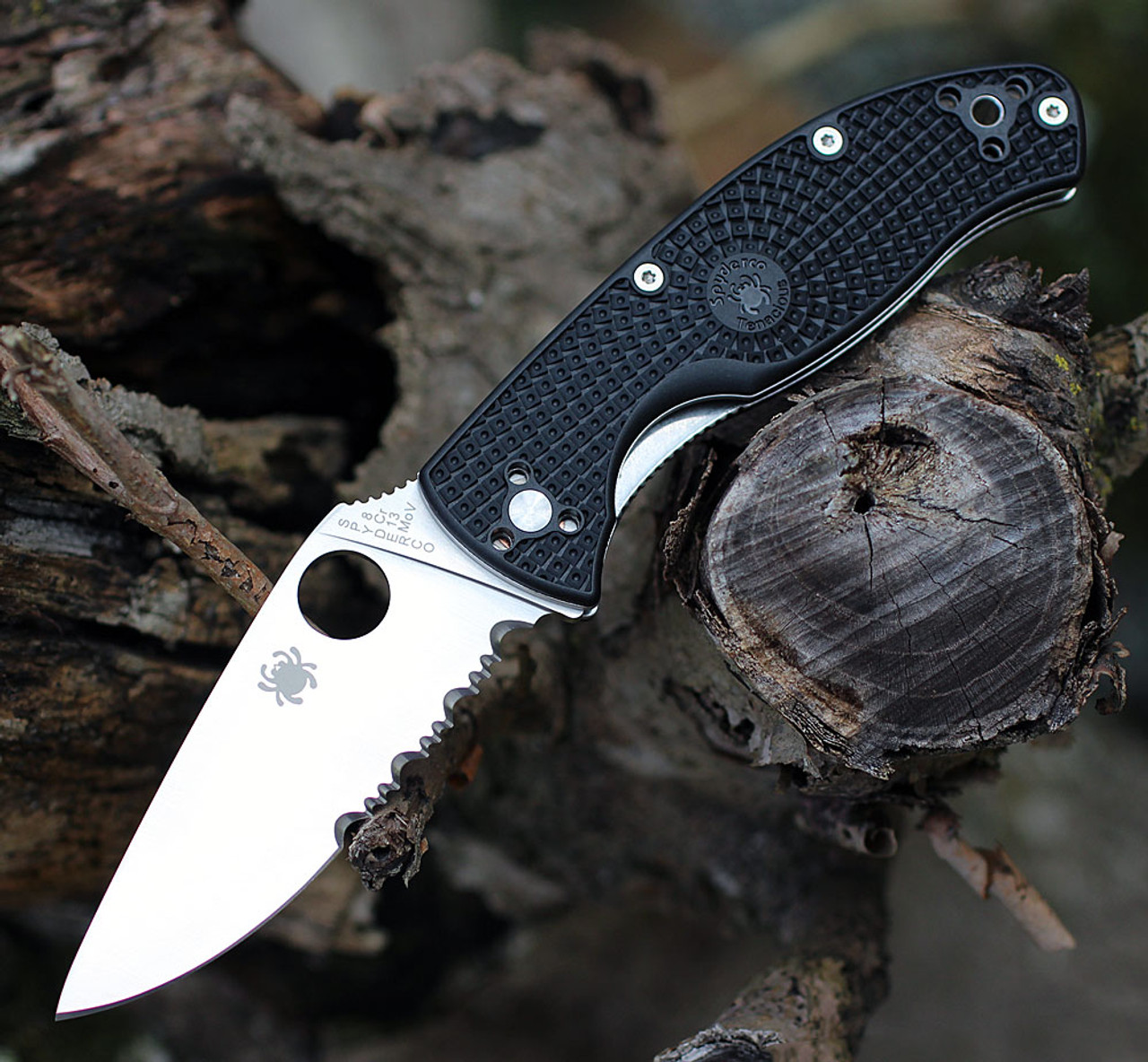 "Spyderco Tenacious Lightweight C122PSBK, 3.39"" 8Cr13MoV Part Serrated Blade, Black FRN Handle"