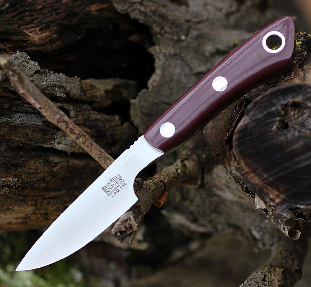 "Bark River Knives Rascal II-BA14152MBU, 3.0"" CPM 154, Burgundy Canvas Micarta Handle"