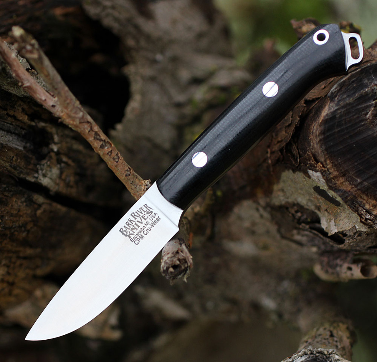 "Bark River Knives Little Creek BA01061MBC,2.5"" CPM CruWear Blade, Black Canvas Micarta Handle"