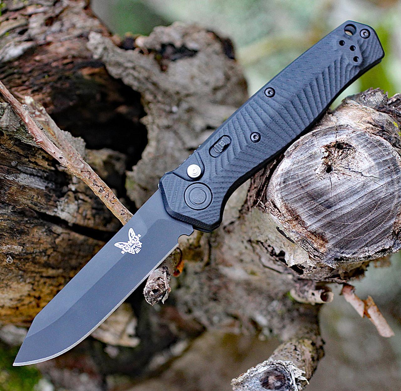 """Benchmade 8551BK Mediator, 3.30"""" CPM-S90V Tanto Black Plain Blade, Black G-10 Handle"""