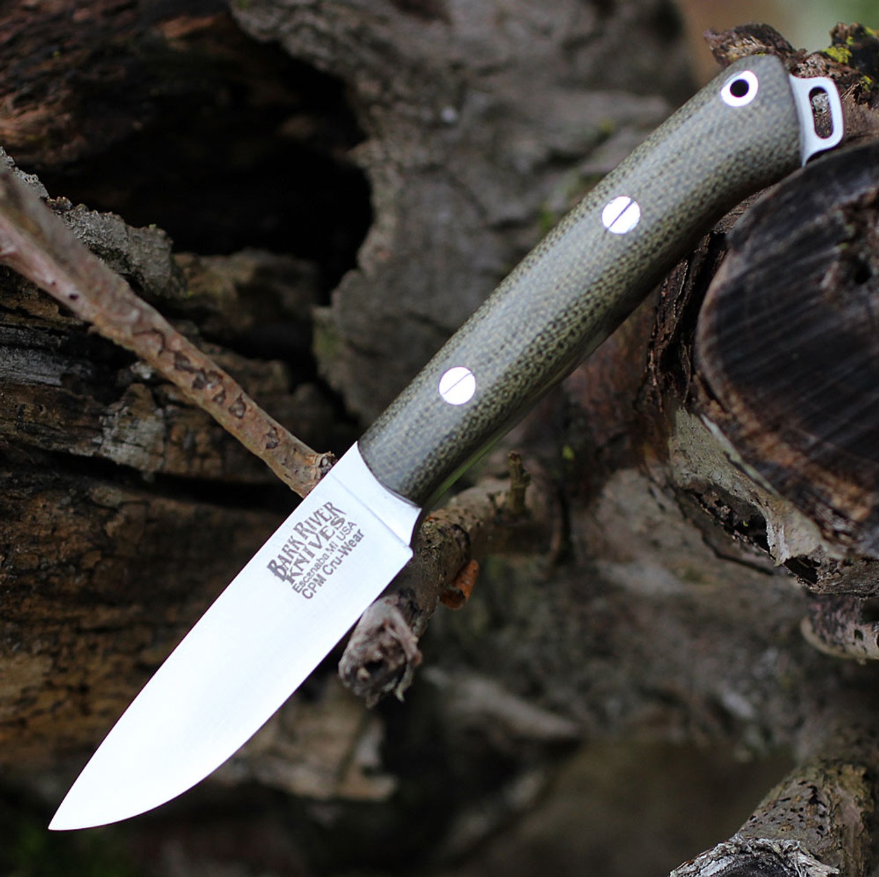 "Bark River Knives Little Creek BA01061MGC, 2.5"" CPM CruWear Blade, Green Canvas Micarta Handle"
