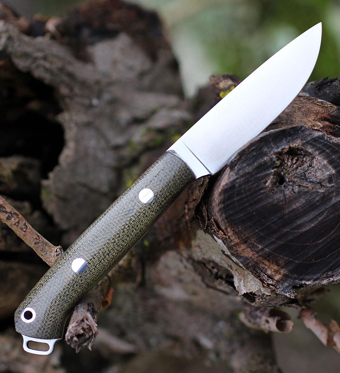"Bark River Knives Little Creek BA01061MGC, 2.5"" CPM CruWear Blade, Green Canvas Micarta Handle"