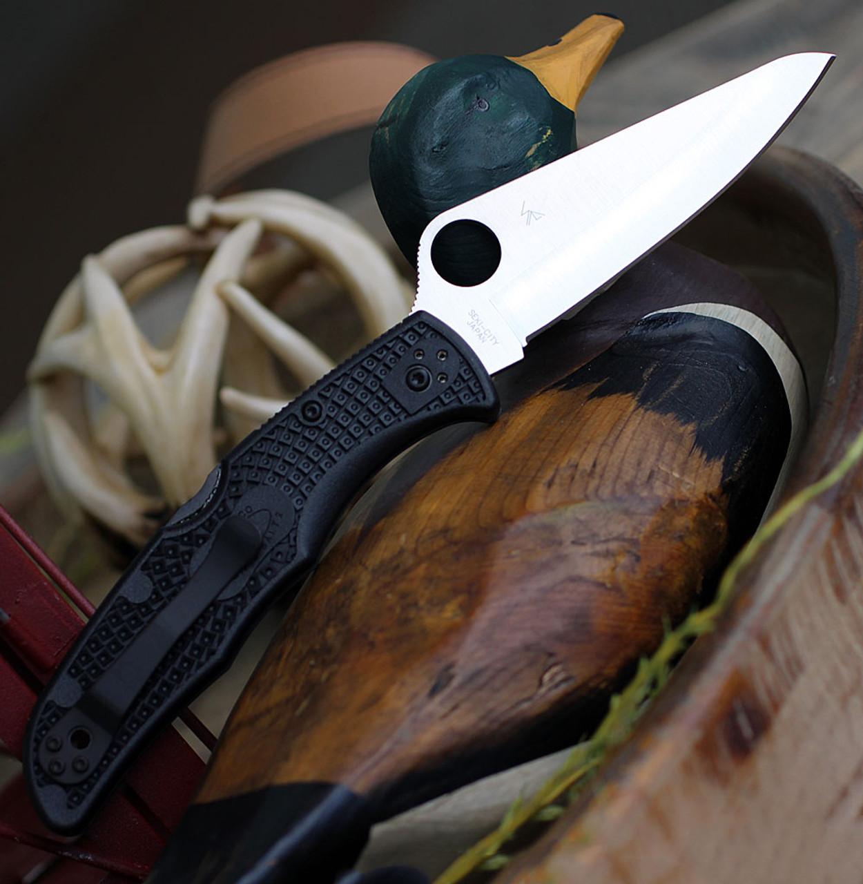 "Spyderco Pacific Salt 2 C91PBK2, 3.78"" H1 Steel Satin Plain Blade, Black FRN Handle"
