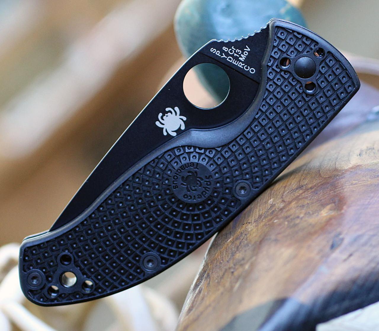 "Spyderco Tenacious Lightweight C122SBBK, 3.39"" 8Cr13MoV Black Serrated Blade, Black FRN Handle"