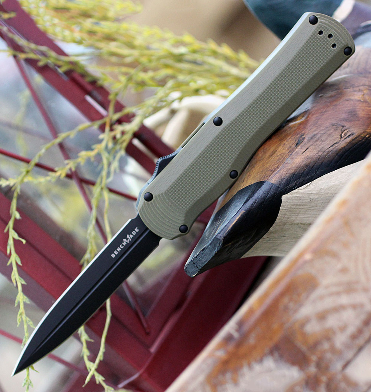 "Benchmade 3400BK-1 Autocrat,  3.71"" CPM-S30V Black Double Edge, Olive Drab G-10 Handle"