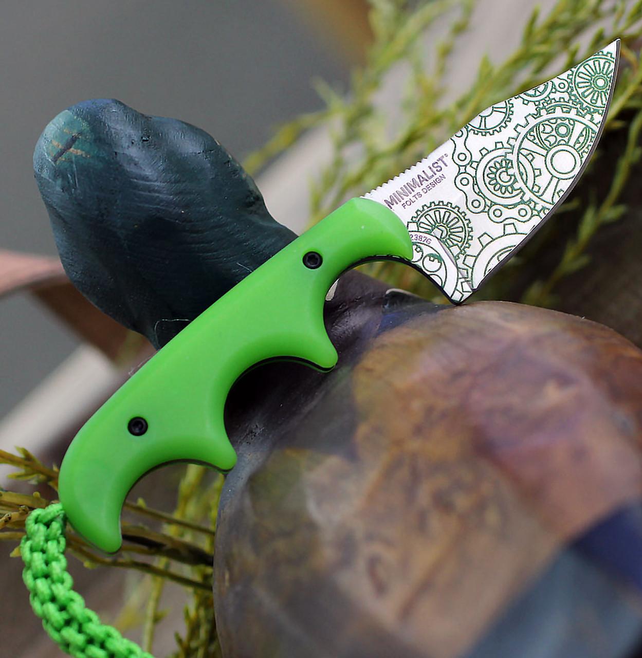 "CRKT Minimalist Bowie Gears CR2387G, 2.125"" 8Cr13MoV 3D Print Satin Blade, Glow in the Dark Handle/Sheath"