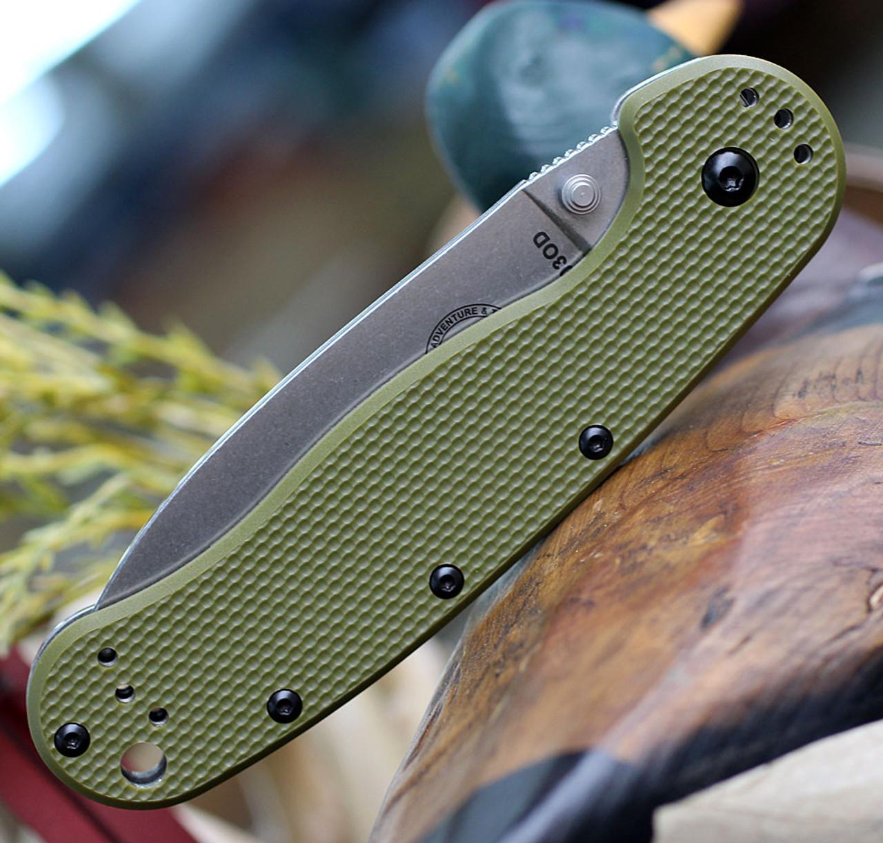 "Esee Avispa Framelock SK5 OD BRK1303OD, 3.65"" SK5 High Carbon Steel Plain Blade, OD Green Nylon Handles"