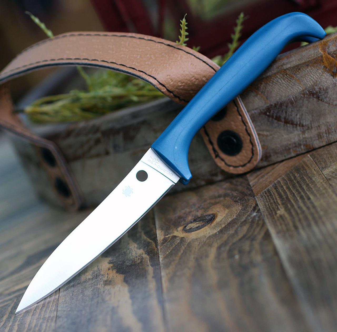 "Spyderco Counter Puppy K20PBL, 3.46"" 7Cr17 Plain Blade, Blue Handle"