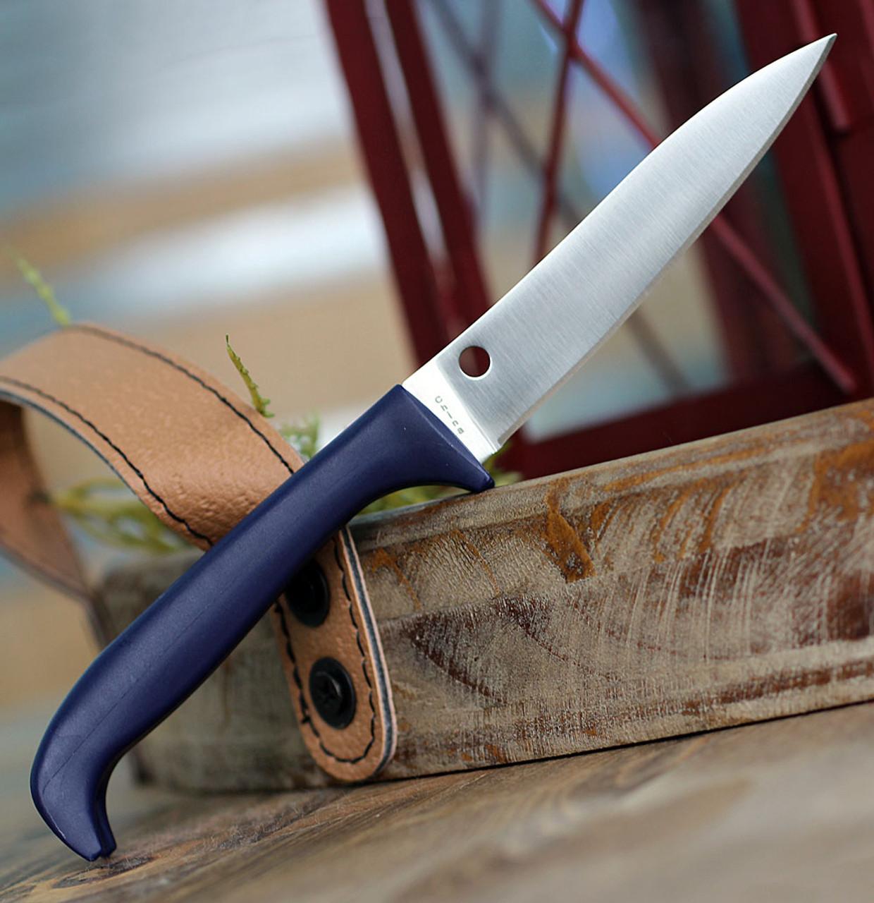 "Spyderco Counter Puppy K20PPR, 3.46"" 7Cr17 Plain Blade, Purple Handle"