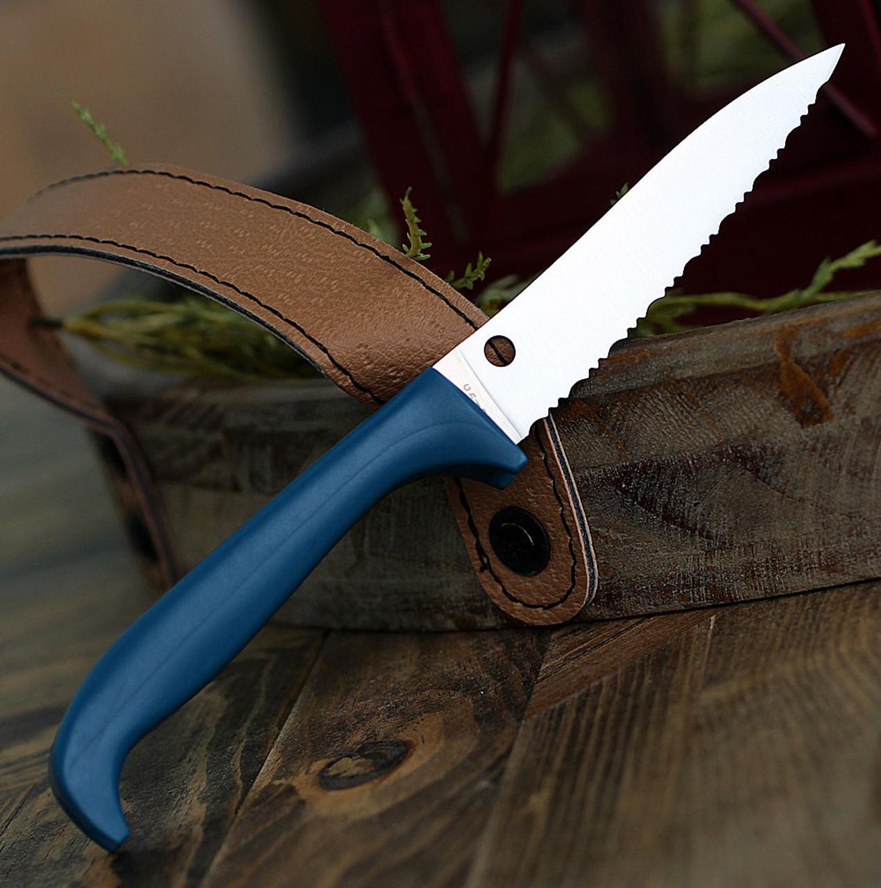 "Spyderco Counter Puppy K20SBL, 3.46"" 7Cr17 Serrated Blade, Blue Handle"