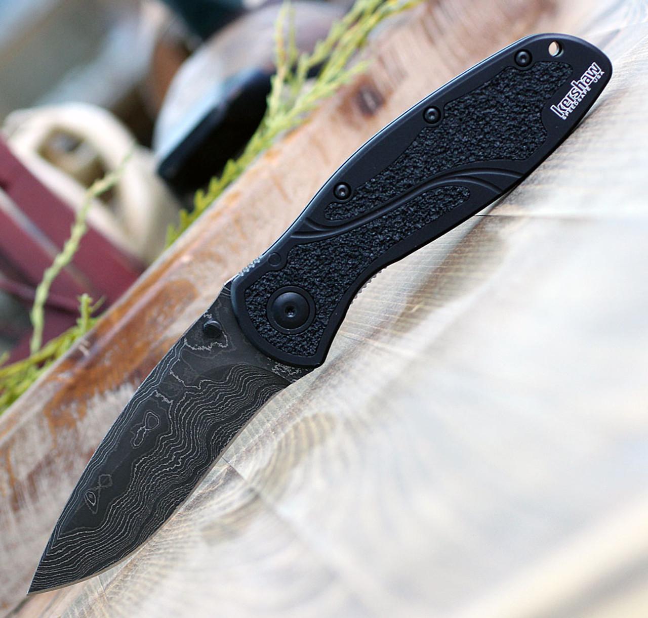 "Kershaw  Blur A/O Damascus 1670BLKDAM, 3.4"" Damascus Blade, Black Aluminum Handle"