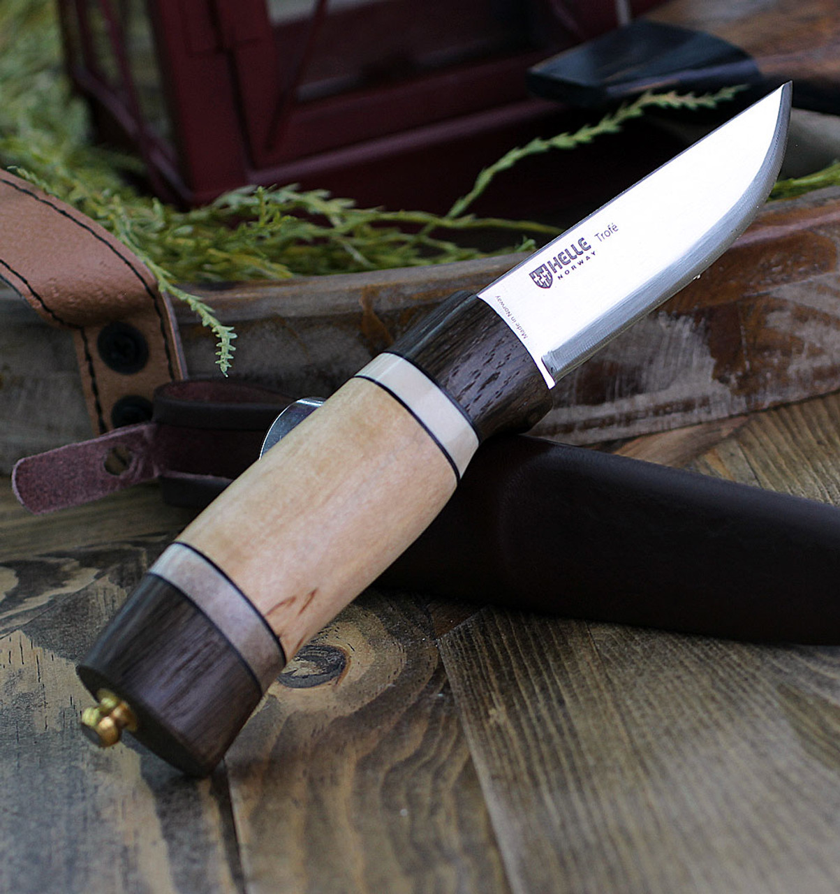 "Helle Trofe 85, 3.5 "" Triple Laminated Stainless Steel Drop Point Plain Blade, Darkened Oak, Leather, Staghorn and Curly Birch Handle"