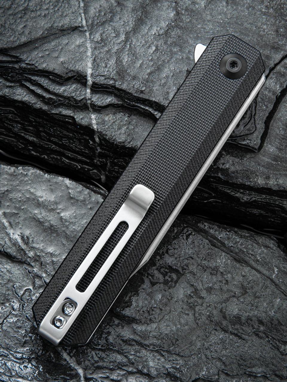 "Civivi Chronic Linerlock Folder C917C, 3.22"" 9Cr18MoV Steel Clip Point Plain Blade, Black G-10 Handle"